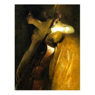 Postal Mujer que toca el violoncelo