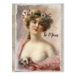 Postal Mujer victoriana con flores en color de agua