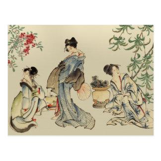 Postal Mujeres japonesas en ropa tradicional