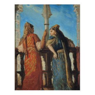 Postal Mujeres judías en el balcón, Argel, 1849