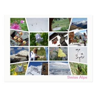 Postal Multi-imagen suiza 4 de las montañas