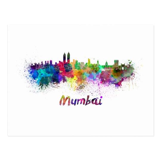 Postal Mumbai skyline in watercolor