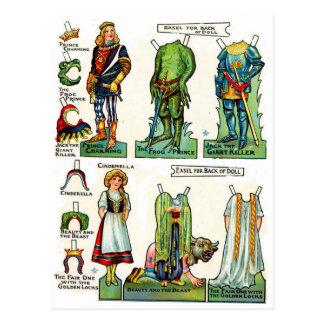 Postal Muñecas del papel de cuento de hadas