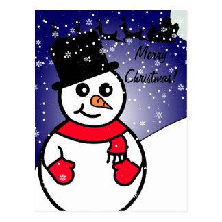 Postal Muñeco de nieve alegre