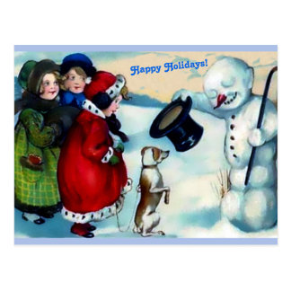 Postal Muñeco de nieve de Vintaage, chicas, perro, buenas