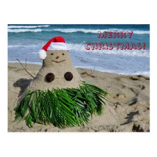 Postal Muñeco de nieve del coco de Mele Kalikimaka de las