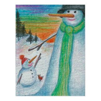 Postal ¡Muñeco de nieve del Poppa y su pequeño hijo
