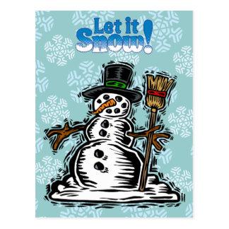 Postal Muñeco de nieve lindo del día de fiesta
