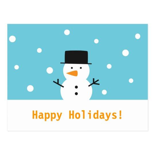 Postal Muñeco de nieve moderno, lindo para el navidad