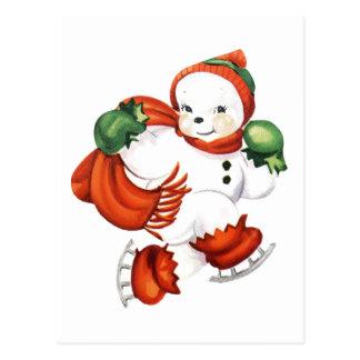 Postal Muñeco de nieve patinador retro