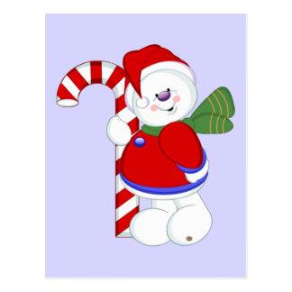 Postal Muñeco de nieve y Candycane