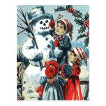 Postal Muñeco de nieve y niños del vintage