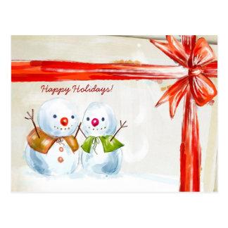 Postal Muñecos de nieve de Chirstmas