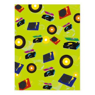 Postal Música colorida retra del arte pop