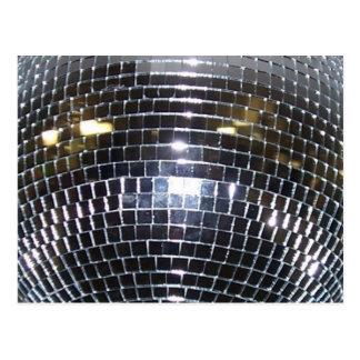 Postal Música de danza retra 70s de la bola de discoteca
