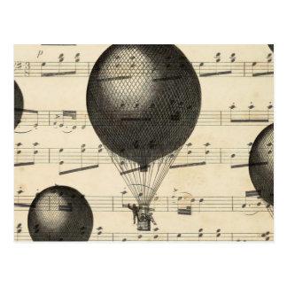 Postal Música del vintage y globos antiguos del aire