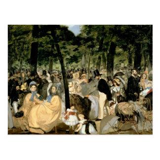 Postal Música en los jardines de Tuileries, 1862 de Manet