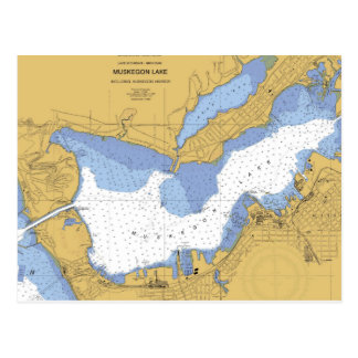 Postal Muskegon, carta náutica del puerto del MI