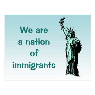 Postal Nación de la estatua de los inmigrantes de la