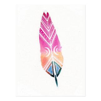 Postal naranja del rosa del ejemplo de la pluma