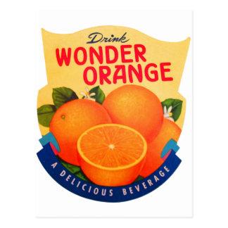 Postal Naranja retro de la maravilla del anuncio del