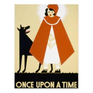 Postal Narración de cuentos - capa con capucha roja