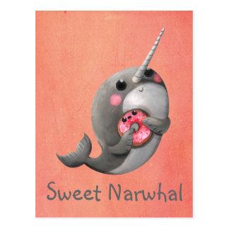 Postal Narwhal tímido con el buñuelo