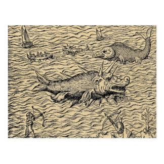 Postal Narwhal y monstruos de mar medievales