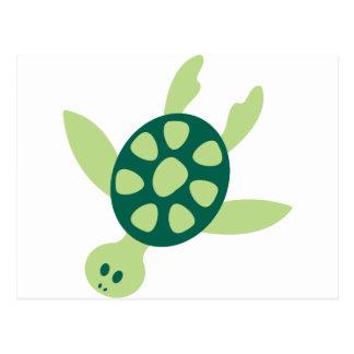 Postal Natación de la tortuga verde