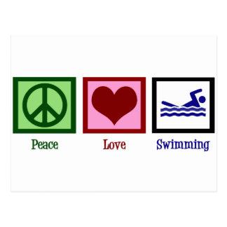 Postal Natación del amor de la paz