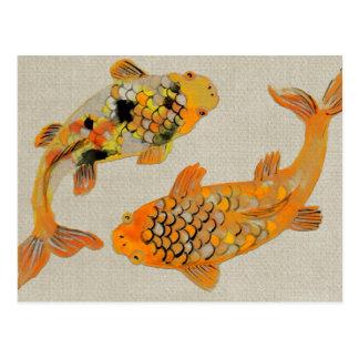 Postal Natación ornamental colorida de los pescados de