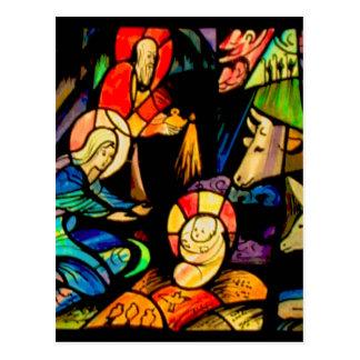 Postal Natividad del estilo del vitral