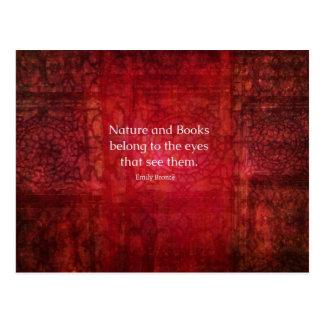 Postal Naturaleza de Emily Bronte y cita de los libros