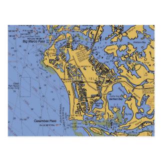 Postal náutica de la carta de la isla de Marco la