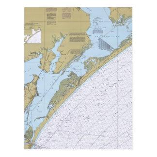 Postal náutica de la carta de Tejas del paso de