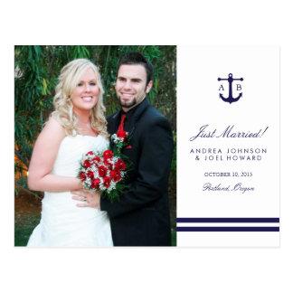 Postal náutica de la invitación del boda de la