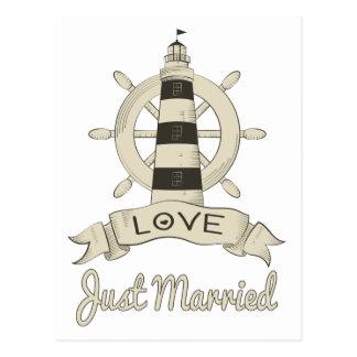 Postal Náutico apenas casado casando el faro y la nave