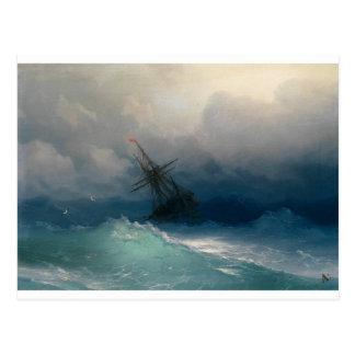 Postal Nave en los mares tempestuosos, Ivan Aivazovsky -