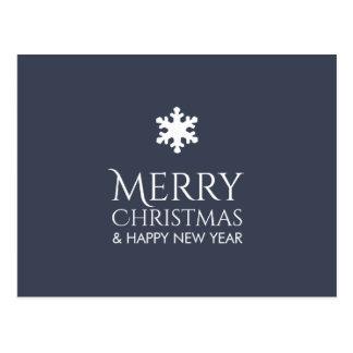 Postal Navidad azul elegante simple del copo de nieve