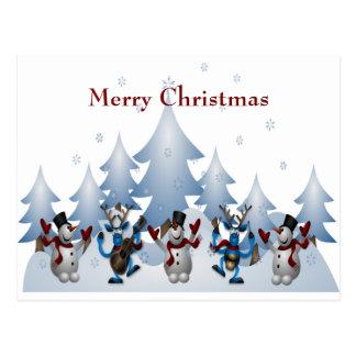 Postal Navidad banda linda del muñeco de nieve y del reno
