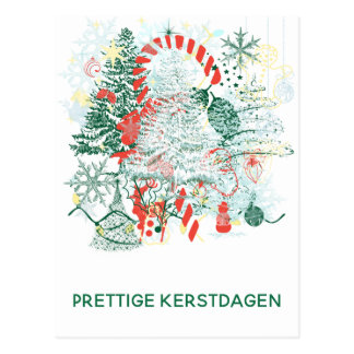 Postal Navidad blanco verde rojo de Prettige Kerstdagen