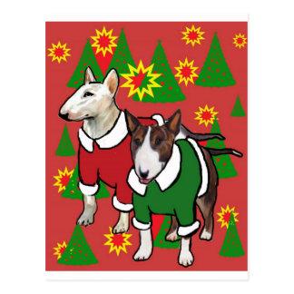 Postal Navidad bull terrier