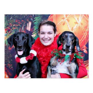 Postal Navidad - Catahoula Brita y tonelero de Labrador