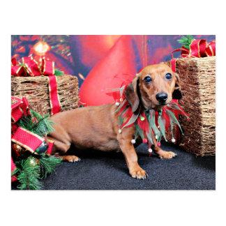 Postal Navidad - Dachshund - cobre