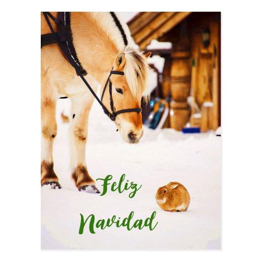 Postal Navidad de Feliz Navidad con los animales del