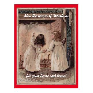 Postal Navidad de los niños del vintage