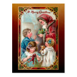 Postal Navidad de Padre Vintage| Niños| Marco ordenado
