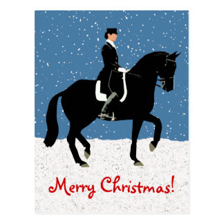 Postal Navidad del caballo del Dressage Nevado
