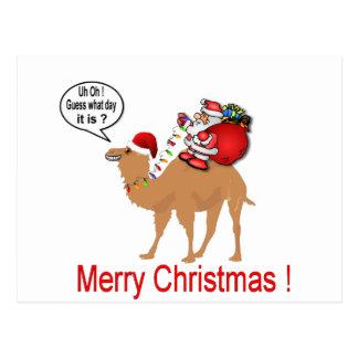 Postal Navidad del camello del día de chepa con Santa
