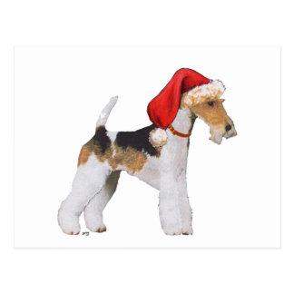 Postal Navidad del fox terrier del alambre